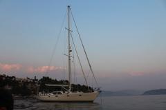 Princess Arguella at anchor in Kalami bay, Corfu